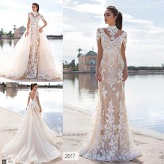 Latest 2017 Stunning Overskirts Wedding Dresses 3d Floral Appliques Lace High Neck Long Sleeve Backless Bridal Gowns With Detachable Train Satin Mermaid Wedding Dress Strapless Mermaid Wedding Dress From Dmronline, $206.84| Dhgate.Com
