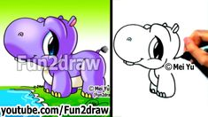 How to Draw Cartoons - Cute Baby Hippo