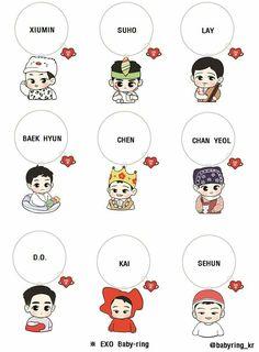Exo as baby Exo Cartoon, Baby Cartoon, Cartoon Drawings, Exo Stickers, Cute Stickers, Chibi, Exo Anime, Kindergarten Art Projects, Exo Fan Art