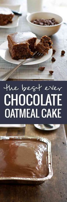 World's Best Chocolate Oatmeal Cake - lots of chocolate goodness in this cake (Worlds Best Brownies) Oatmeal Cake, Chocolate Oatmeal, Best Chocolate, Baking Recipes, Cake Recipes, Dessert Recipes, Just Desserts, Delicious Desserts, Sweet Bread