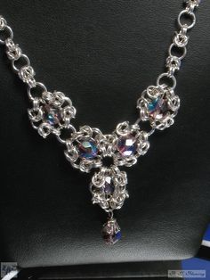 Lady Rose Designs - Details on the product Cluster Silver Chainmail Necklace and Earring set.