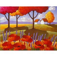 PAINTING Original Landscape Folk Art Red Poppies Bloom Lavender Flower Fall Trees Fields Modern Acrylic on Canvas Fine Artwork Horvath 14x18 on Etsy, $225.00