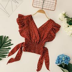 Online Shop Hot Sale 2019 Fashion Women Polka Dot Chiffon Blouse Ruffles Sleeve Belt Casual Top Lace Up V-Neck Summer Tees Stylish Shirts, Sexy Shirts, Crop Top Outfits, Cute Outfits, Girl Outfits, Mein Style, Mode Boho, Chiffon Blouses, Mode Inspiration