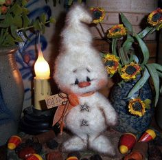 "Primitive Halloween Fuzzy Ghost Bear 6"" Doll ★ Vtg Patti's Ratties Monster Ornie"