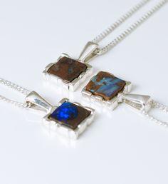 Australian boulder opal modern sterling silver necklace from Urban Boulder. Www.urbanboulder.com/necklaces