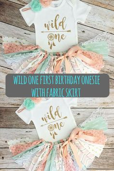 perfect for a girl baby shower or her first birthday: Wild one first birthday onesie with fabric skirt and matching head band