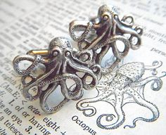 Men's Cufflinks Silver Octopus Cufflinks Silver Cufflinks By Cosmic Firefly Popular Men's Gifts Men's Accessories  $24.95