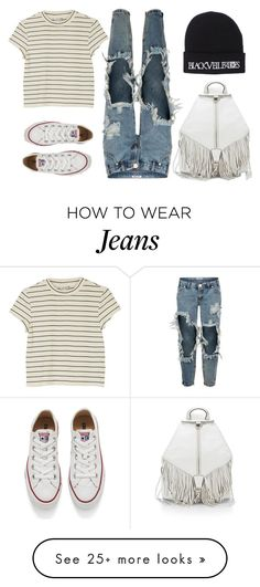 """Distressed + Striped"" by shandra37 on Polyvore featuring Monki, One Teaspoon, Converse and Rebecca Minkoff"