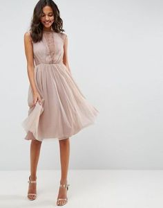 ASOS Lace Tulle Cap Sleeve Midi Dress