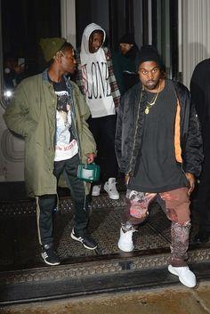 Kanye West wearing  Yeezy Season 3 Boost 350, Alpha Industries MA-1 Flight Reversible Jacket, Yeezy Season 3 Print Pants, Personalized Boutique Custom Made Nori 14K Gold Raised Letter Name Bar Necklace