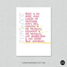 romance is still necessary. cards and prints by scribbleandtweak on Etsy