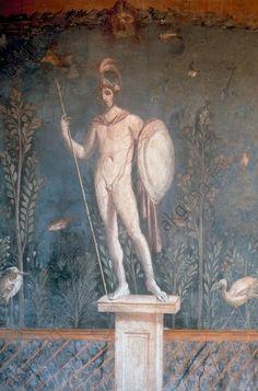 *POMPEII, ITALY ~ Roman Mural, wall painting. Mars. Pompei, Casa di Venere.