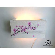 Wandlamp bloesem - Stoere #lamp van #steigerhout voor de #meisjeskamer ...