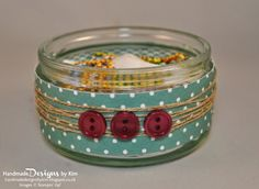 HANDMADE DESIGNS BY KIM Handmade paperclip pot using Lost Lagoon Designer Series Paper by Stampin' Up!