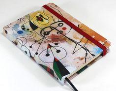 Caderno artesanal estilo sketchbook, formato pocket, com o tema Miró.