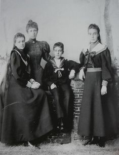Queen Maria Cristina of Spain and her three children