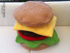 Food pillow - Hamburger cushion - Decorative hamburger pillow handmade - 6 to 1…