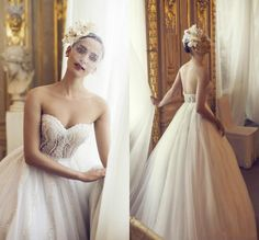 Charming High Quality Beads Wedding Dresses A-Line Sweetheart Sexy Pearl Tulle  Luxurious Fashion Bridal Gowns with Chapel Train