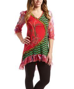 Pink & Green Patchwork Tunic by Rising International #zulily #zulilyfinds