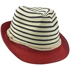 a3577916364 Striped Fedora Hat With Nautical Rope Band Red Fedora Hat
