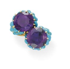 AN AMETHYST AND TURQUOISE RING, BY CARTIER