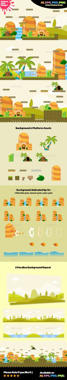 Platform Assets Stage 01 by Fikri *character, items & enemy assets not include in this packagePlatform Assets Stage game asset is suits for game developers, Jeopardy Game Template, Powerpoint Game Templates, Board Game Template, Video Game Backgrounds, Scrolls Game, Kit Games, Ios, Android, Game Icon