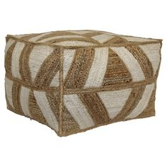 $50.99 Threshold Square Pouf - Ivory/Tan Stripe