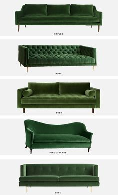 trend alert: the green velvet sofa | Mint Modern Home