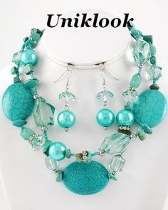 Chunky Turquoise Acrylic Gem Multi Strand Sassy Silver Necklace Earrings Jewelry