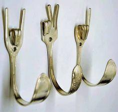 athenailya: ROck on! upcycled fork hooks.