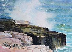 Wave Meets Rock by Poppy Balser Watercolor ~ 5 x 7