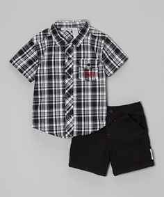 Little guys are ready to hit the playground in this cool and comfy duo! A laid-back button-up with a classic plaid print and comfy cotton shorts keep guys cozy and stylish all day. Two charming pieces mean plenty of opportunity for pairing with other wardrobe favorites.