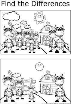 Find the differences between the two pictures in this printable coloring page featuring a farm full of happy, standing cows.