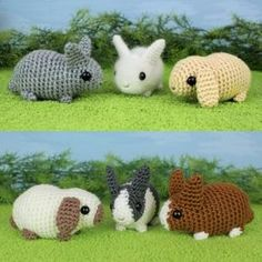 Baby Bunnies 1 & 2 - SIX amigurumi bunny crochet patterns