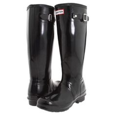 Brand new Hunter black gloss boots New in box size euro 36 fit like a true size 6 Hunter Boots Shoes Winter & Rain Boots