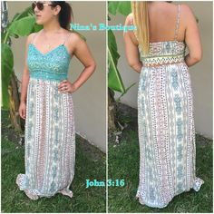 saleLace trimmed maxi dresses Gorgeous print maxi dress with crochet detailing and adjustable straps. S(2/4) M(6/8) L(10/12) - Price is firm - 100% rayon Boutique Dresses