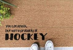 Hockey welcome mat made of sturdy coir material with a latex backing. Best kept out of direct sun and rain. ice hockey Hockey welcome mat Hockey Crafts, Hockey Decor, Hockey Party, Hockey Quotes, Funny Hockey Memes, Coir, Field Hockey, Basketball Teams, College Basketball