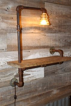 Lighted Old Metal Pipe and Rustic Wood by RecycledWesternIdeas, $125.00