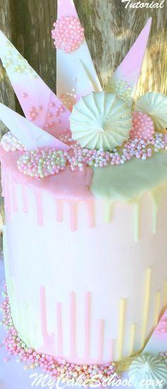 Beautiful Pastel Drip (& Reverse Drip) Cake Design with Chocolate Ganache & Chocolate Accents! -Member Tutorial by MyCakeschool.com!
