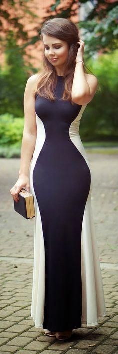 Everyday New Fashion: Black Contrast Apricot Sleeveless Slim Maxi Dress