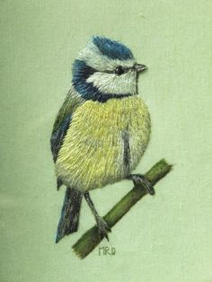 Margaret Dier Embroidery - I am at home for Christmas I have taken a few photos of old work to share. This little blue tit was a present for my mum about 15years ago. I think it took about three days to complete. All worked in stranded cottons except the branch which was painted. Not the best photo as it is through glass but I thought it worth posting.