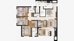 Apto de 106 m² com 4 dorms (1 suite) + lavabo + depósito. Terraço com churrasqueira e pia.