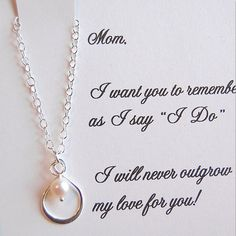 mother of the bride gifts from her daughter | ... and necklace can be ordered here: Mother of the Bride Card/Necklace me and my mom don't get along perfectly but she is my mommy there are many mommys out there but she is mine