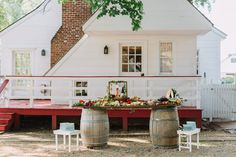 Cocktail hour graze table inspiration, outdoor wedding, outdoor cocktail hour, manor house wedding, barrel table wedding, garden wedding