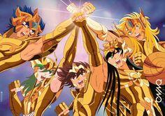 caballeros de bronce con sus armaduras doradas según su signo.