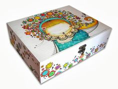 Baby Keepsake, Keepsake Boxes, Tole Painting, Painting On Wood, Painted Wood Crafts, Diy And Crafts, Arts And Crafts, Decoupage Box, Craft Bags