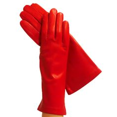 Ladies Ferrari Red 4-bt. Italian Leather Gloves, Lined in Silk