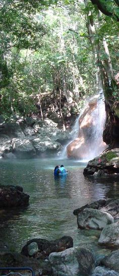 In the jungle of Guatemala close to Rio Dulce is a cold river coming down from the mountains. Another River comes from a thermal spring and runs as burning waterfall in the laguna. You can even swim through the waterfall. Behind is a little cave with steam like in a steambath! Priceless!