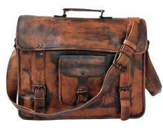 Men's Bags, Briefcases, DHK Leather Vintage 15 Inch Laptop Messenger Bag briefcase Satchel for Men and Women - Vintage Leather Messenger Bag, Leather Briefcase, Leather Satchel, Leather Bags, Brown Leather, Mens Satchel, Laptop Messenger Bags, Handmade Leather Shoes, Leather Slippers