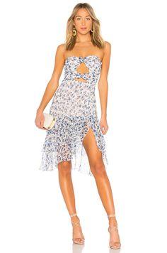 MAJORELLE Emelia Midi Dress in Misty Blue